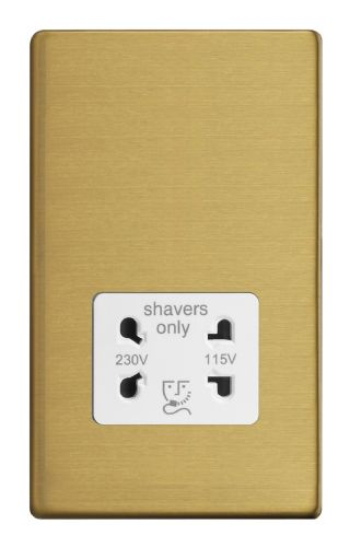 Varilight XDBSSWS Screwless Brushed Brass Dual Voltage Shaver Socket 240V/115V